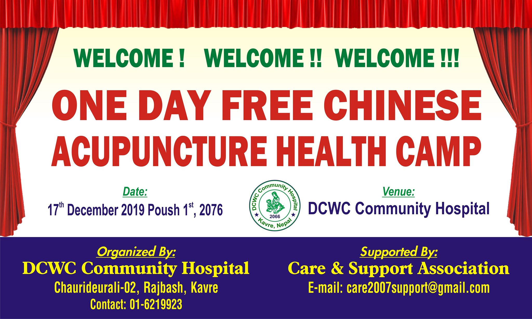 One day free Chinese Acupuncture Camp  on 17th December 2019