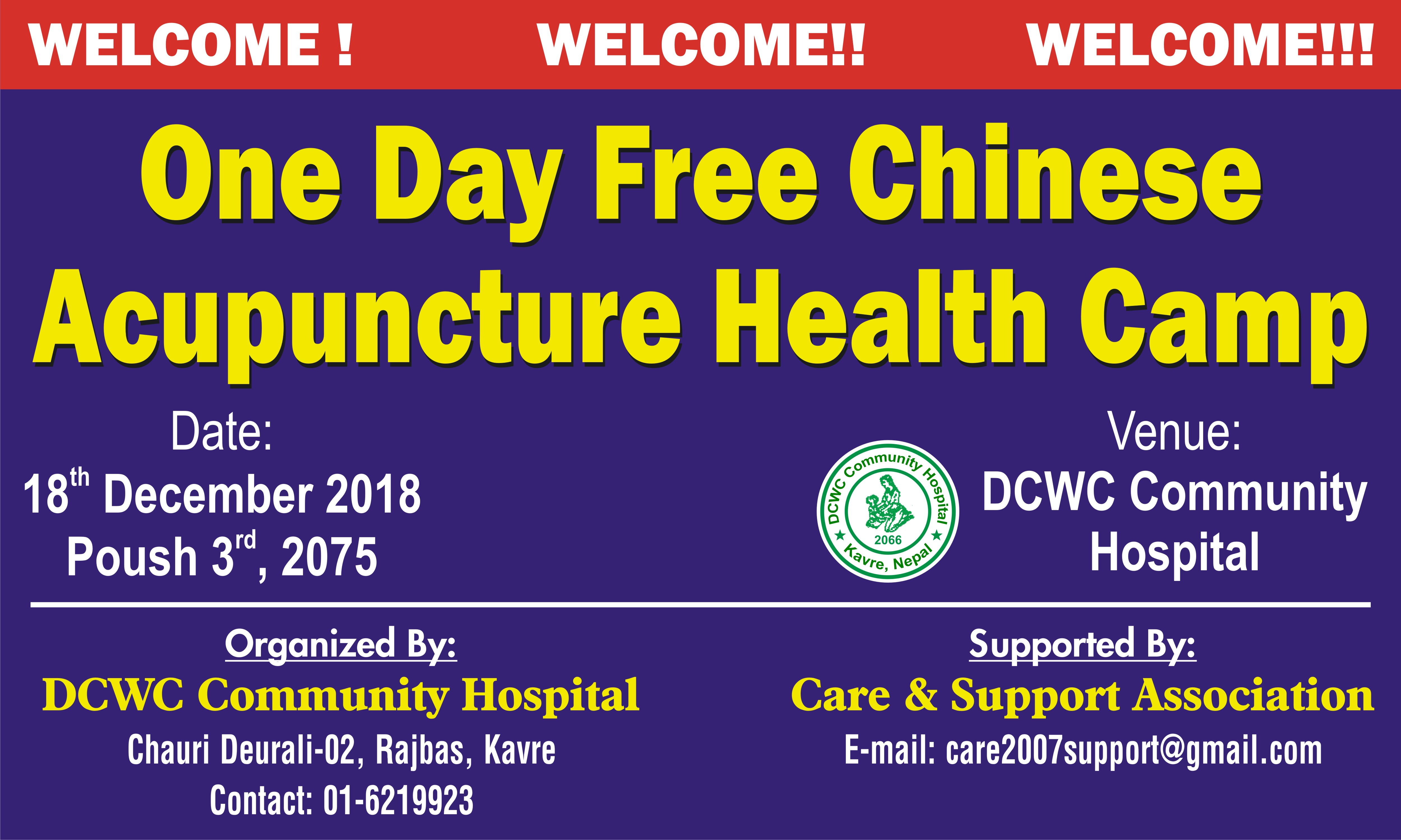 One Day Free Chinese Acupuncture Health Camp